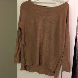 Light brown side zippered sweater